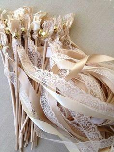 Lace/ribbon wedding wands = a very pretty little detail for a wedding send-off Wedding Send Off, Wedding Exits, Wedding Bells, Diy Wedding, Dream Wedding, Wedding Day, Wedding Church, Wedding Ribbon Wands, Gold Wedding