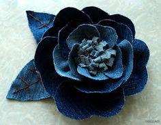 Artes com Capricho: Flor de tecido- jeans-PAP