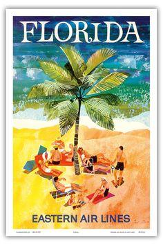 12 x 18 Vintage Travel Poster Art Print Florida  by IslandArtStore