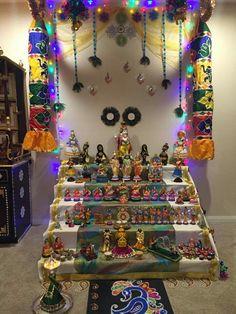 Find this Pin and more on Dream Home , Golu by nivisudhakar. Backdrop Decorations, Diwali Decorations, Diy Wedding Decorations, Festival Decorations, Diwali Goddess, Ganapati Decoration, Pooja Room Design, Mehndi Decor, Happy Navratri