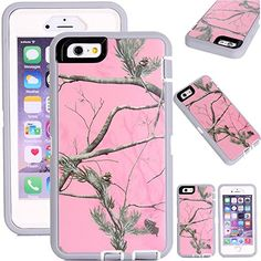 """Kecko(TM) Defender Tough Camo Tree Grass Shockproof High Impact Hybrid Armor Case Cover W/ a Build On Screen for iphone 6 4.7""""(Not for iphone 6 Plus)-Camo Leaves/Grass on Green Core (Pink tree/Grey)"""