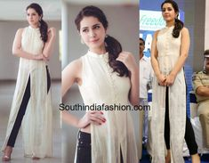 Raashi Khanna in Sashi Vangapalli   Raashi Khanna attended an event in Hyderabad wearing a pair of black jeans teamed with a white slit kurta by Sashi Vangapalli. Earrings from Aquamarine and a side ponytail rounded out her look!  Related Posts  Raashi Khanna in Mint Blush  Raashi Khanna in a silk dress  Sreemukhi in a Floral Slit Tunic  The post Raashi Khanna in Sashi Vangapalli appeared first on South India Fashion.  from South India Fashion…