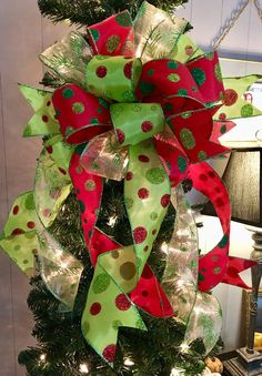 christmas tree toppers The Betty Lou Hoo Christmas tree topper bow~wreath bow~swag bow~red and green Christmas bow~polka dot bow~bow for wreaths~mailbox bow Christmas Tree Ribbon Garland, Diy Christmas Tree Topper, Grinch Christmas, Christmas Bows, Christmas Tree Themes, Green Christmas, Christmas Crafts, Holiday Decorations, Holiday Ideas