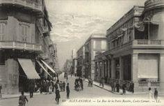 'La Rue de la Porte Rosette, Cook's Corner' (Alexandria, Egypt photographed in the - Architecture Blueprints, Islamic Architecture, Pahlavi Dynasty, Ancient Egypt History, Alexandria Egypt, 1940s, Street View, State Street, Auburn