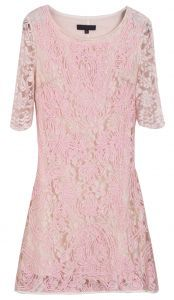 Apricot Half Sleeve Embroidery Lace Dress