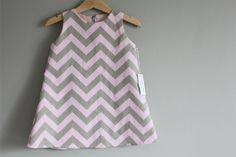 new  Pink Grey Chevron dress 6M 12m 2T 3T 4T by heidiandfinnstudio, $33.00