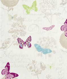 Stof Butterfly Blanc Fabric