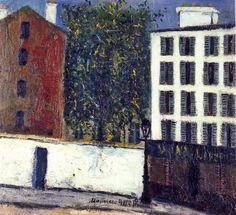 Париж на картинах Мориса Утрилло (Utrillo). Montmartre Street.