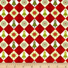 O' Christmas Tree Diamond Red from @fabricdotcom  From Studio E Fabrics, this cotton print is perfect for quilting, apparel and home decor accents.  Colors include white, brown, red and green.