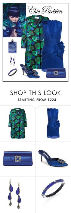 """""""Emanuel Ungaro Ruffle Detail Minidress Look"""" by romaboots-1 ❤ liked on Polyvore featuring Gianluca Capannolo, Emanuel Ungaro, Manolo Blahnik, Alexis Bittar and The Beautiful Mind Series"""