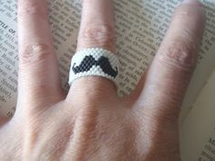 MUSTACHE RING, Mustache jewelry, Beaded Mustache, Beadwoven Mustache, Peyote Stitch Mustache on Etsy, $17.42 CAD
