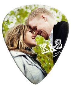Personalized Guitar Picks. My love for photos + the groom being a musician = custom guitar picks at our wedding.