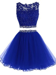 HTYS Beaded Two Pieces Prom Dresses Applique Short Homecoming Dresses HY115 * Discover this special product, click the image : Evening dresses
