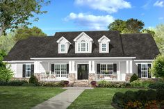 Country Style House Plan - 4 Beds 2.5 Baths 2420 Sq/Ft Plan #430-113 Exterior - Front Elevation - Houseplans.com
