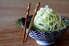 "1 ""European"" or ""English"" Cucumber, peeled and cut in half horizontally 1 tablespoon finely chopped fresh dill 2 tablespoons white wine vinegar 3 tablespoons vegetable oil 2 tablespoons heavy cream salt and pepper to taste Raw Food Recipes, Salad Recipes, Healthy Recipes, Healthy Foods, Healthy Eating, Healthy Fruits, Fruits And Veggies, Vegetables, Spaghetti Salad"