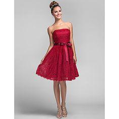 A-vonalú/Hercegnő - Pánt nélküli - Térdig érő - Koszorúslány ruha ( Csipke ) – USD $ 79.99