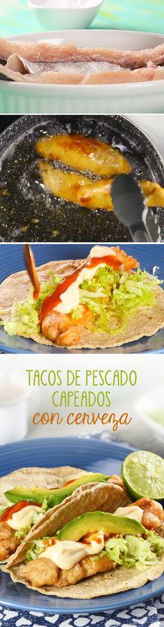 Tacos de pescado empanizado o capeado con cerveza. Esta receta de tacos mexicanos para #cuaresma es rápida de hacer y te quedará a la primera.
