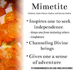 Mimetite crystal meaning Chakra Crystals, Crystals Minerals, Crystals And Gemstones, Stones And Crystals, Crystal Magic, Crystal Healing Stones, Energy Symbols, Gemstone Properties, Crystal Meanings