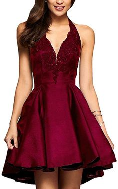 Yilis A-line Satin with Lace Applique Party Prom Dress Short Homecoming Dress (Burgundy, 16) at Amazon Women's Clothing store: