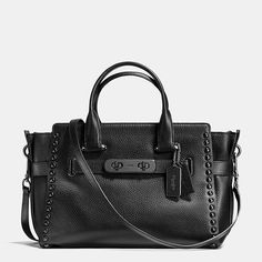 Coach Swagger Carryall in Lacquer Rivets Pebble Leather - Lacquer rivet accents update the striking Swagger Carryall with statement shine and a tough industrial edge. Crafted in luxe pebble leather, the spacious, tote-like design has handles that sit comfortably on the shoulder, even when worn over a coat; a center zip privacy compartment keep valuables secure.