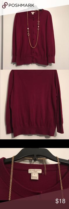 J. Crew Clare Cardigan ❤️ Soft wine-colored Clare cardi :: must-have staple piece for your wardrobe! :: small hole on back near the collar (pic 3), but I'd wear my hair down to cover it so no one would know 😉 questions and offers welcome! :: bundle & save even more! ✨ J. Crew Sweaters Cardigans