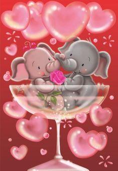 Valentine's - Gabi Murphy Happy Elephant, Elephant Family, Elephant Love, Elephant Art, Love You Images, Cute Images, Couple In Love, Valentines Illustration, Cartoon Elephant