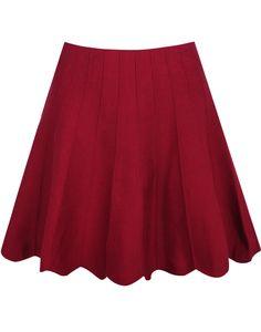 Red High Waist Pleated Knit Skirt 16.83