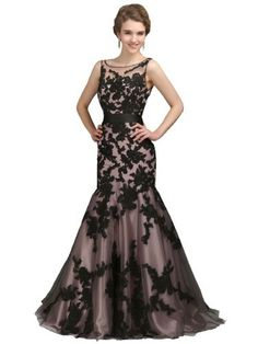 EMMALADY Long Black Applique Evening Formal Prom Party Cocktail Dresses Wedding Gown