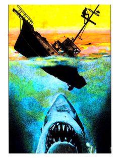 Jaws 1, Jaws Movie, Cultura Pop, Horror Artwork, Perfect Movie, Great White Shark, Steven Spielberg, The Shining, Dark Fantasy Art
