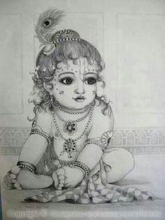 🕉 The beautiful world of Hinduism 🕉 🌷Jai Shri Radhe-Krishna 🌷 Pintura Ganesha, Arte Ganesha, Arte Krishna, Krishna Hindu, Hanuman, Krishna Tattoo, Krishna Drawing, Lord Krishna Sketch, Buddha