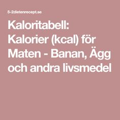 Kaloritabell: Kalorier (kcal) för Maten - Banan, Ägg och andra livsmedel