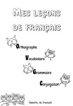 ma chouette page de garde pour le porte vue de français