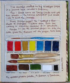 A palette sketch on the first page of every new journal to break it in...