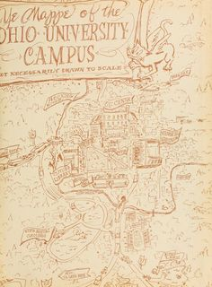 Athena Yearbook, 1956. The Ohio University map is drawn out in the back of the yearbook. :: Ohio University Archives