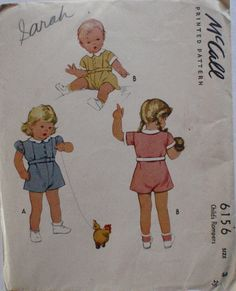 2a53d807f7d Child s Vintage Sewing Pattern - Child s Rompers - McCall 6156 - Size 3