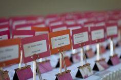 Binder Clip Escort Cards :  wedding place cards escort cards reception diy