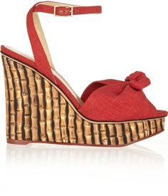 Charlotte Olympia Miranda 110 canvas wedge sandals
