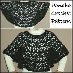 Free crochet pattern for a bernat satin petite lacy poncho.