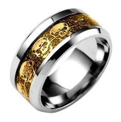 Gold & Silver Carbon Fiber Stainless Steel Skull Ring