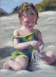 beach art / beach painting / by Marilyn M King Art Women, Beach Art, Beautiful Beaches, Female Art, King, Sea, People, Painting, Toddler Girls