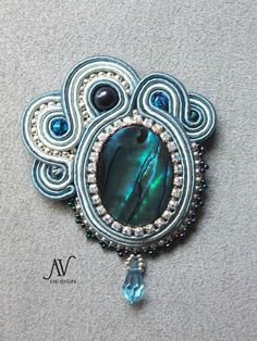 Pin-pendant Abalone and chatons