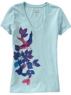women's floral graphic v-neck tee in aqualicious