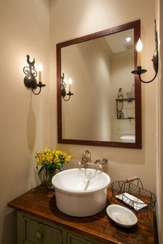 Farmhouse Powder Room Design Ideas, Pictures, Remodel and Decor