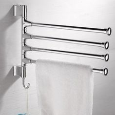 Fashion New Convenient 4 Arms Rotating Towel Bars Stainless Steel Wall Mounted Bathroom Rail Rack Washroom Holder Hanger Size X 315 Mm