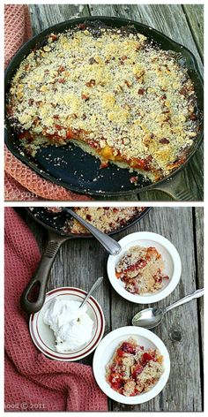 Skillet-Baked Peach and Cherry Cobbler!  Yet another reason that I NEED a cast iron skillet...