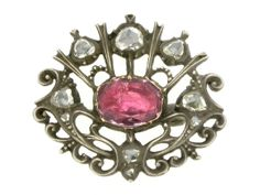 Antique pink topaz and rose diamond brooch, circa 1700 from Berganza London Hatton Garden