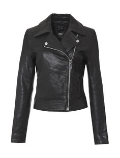 Scoop Fringe Leather Jacket - This moto-jacket is made with super soft leather in a sleek design. However the best part is in the back, with its bold fringe detail spanning from wrist to wrist. Dual snaps on the front with a zip closure. Two slit pockets on front. Woven detail at each shoulder and in back. Fully lined. Exclusively from Scoop NYC.