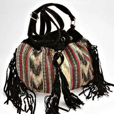 Boho Fringe Aztec Suede Fringe Crossbody Bucket Bag - Black