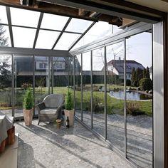 Cabrio-Veranda® mit Ganzglastüren und Aluminiumkonstruktion im Raum Lichtenfels