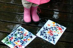 Fun for a rainy day!  Just a few drops of paint and the rain will do the rest.  Kids will love watching it!